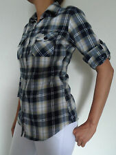 NEW WOMAN'S LADIES GIRLS 100% COTTON 'ON TREND' 3/4 SLEEVE HITCH UP CHECK SHIRTS
