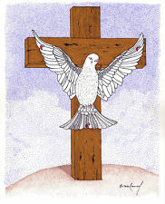"ORIGINAL ART Signed Ink Drawing  Dove Nailed to Crucifix Cross -- ""Unforgiven"""