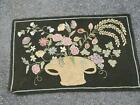 Primitive Style Basket and Floral Hand Hooked Rug