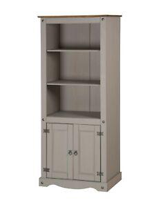 Corona Bookcase Grey Wax 2 Door Display Cabinet Solid Pine by Mercers Furniture®