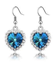 G12 Blue Heart Love Crystal EARRINGS Silver Tone Fish Hook NEW