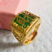 "Cool Ring Jade Gem Stone Man ""Fortune"" 24k Yellow Gold Filled Rings Jewelry Gift"