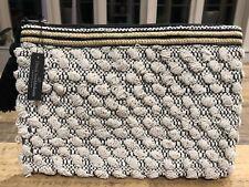 Dansk Smykkekunst Black Gold & White Clutch Bag Aztec Tassel - Danish Designer