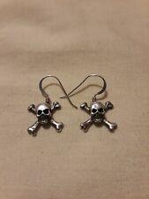 Skull and Crossbones Small Dangle Earrings Sterling Silver ☠☠
