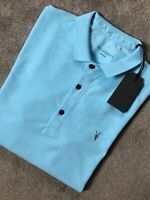 "ALL SAINTS HAWAII BLUE MARL ""REFORM"" S/S LOGO POLO SHIRT TOP - MEDIUM - NEW TAGS"