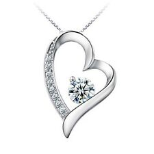 """1CT heart Diamond 925 sterling silver necklace 18"""" Chain heart love Her MOM-NL25"""