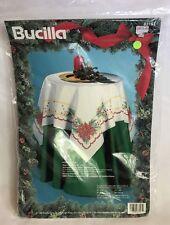 Bucilla 40x40 Poinsettia Stamped Cross Stitch Christmas Tabletopper #83161