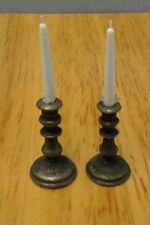 Dollhouse Minature Harmony Forge Handcrafted Pewter set Candlesticks circa 1720