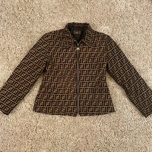 Vintage FENDI Zucca Pattern Blazer Jacket Brown Black Italy Authentic
