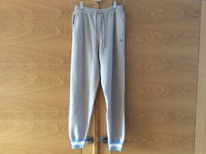 CHINTI & PARKER Oatmeal cashmere blend joggers blue/cream cuff Size M New+tags