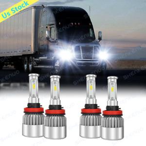 2x White LED H11 Low Beam Headlight Bulbs For 2008-2017 Freightliner Cascadia