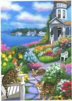 ACEO BENGAL CAT BEACH OCEAN HOUSE COTTAGE BY THE SEA GARDEN FLOWERS COVE PRINT