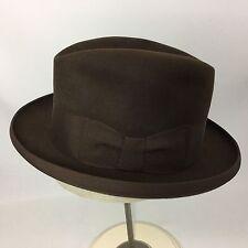 Dobbs Homburg Felt Hat Mens Chocolate Brown Fedora Size 6 5/8 Vintage Small
