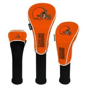 CLEVELAND BROWNS HIGH QUALITY NYLON GOLF HEAD COVER SET EMBROIDERED LOGO