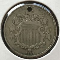 1867 Shield Nickel 5 Cents 5c Better Grade RARE #12728