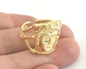 Ring Signet Face Adjustable Ring Shiny Gold Plated brass Statement
