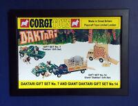 Corgi Spielsachen Daktari Geschenkbox Gs 7 & Gs 14 Vintage 1968 A4 Größe Gerahmt