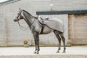 New Dark Horse Classic Beige Tartan Fleece Exercise Sheet Winter Riding Horse