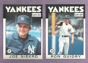 1986 OPC O-PEE-CHEE New York Yankees Team Set
