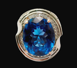 Beautiful Natural London blue topaz Oval Cut Gemstone Men' S Ring Size 12