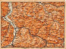 Carta geografica antica SVIZZERA Prattigau Old Map Switzerland Suisse 1905