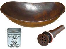 "17"" Oval Sleigh Copper Vessel Lavatory Sink DRAIN & WAX  Free Shipping"