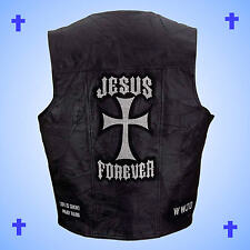 --CHRISTIAN THEME--Leather Motorcycle Biker Vest-JESUS FOREVER-Men's Size 2X