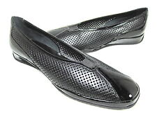 "AMALFI BY RANGONI WOMEN'S ""ERANA"" FLATS BLACK NAPPA/PATENT US SZ 10.5 S (NARROW)"