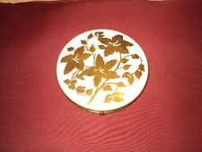 VINTAGE  REX   GOLD & WHITE  FLOWERED   MIRRORED  COMPACT  1950'S