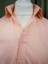 """Cordings End-on-End Micro Check Peach Pink Double Cuff Shirt 15"""" C38"""""""