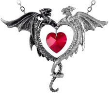 Coeur Sauvage Light & Dark Dragons Pendant Red Crystal Heart Alchemy Gothic P446