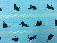 RPNT84j Neko Kitty Cat Japanese Asian Retro Kittens Bows Cotton Quilt Fabric