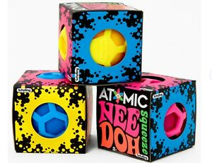Nee-Doh Schylling Atomic Stress ADHD Ball 3-Pack Blue Yellow Pink Complete Set!