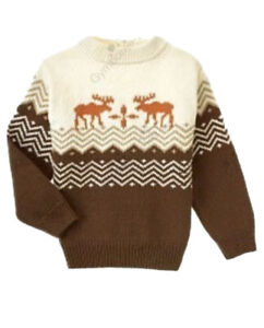 Gymboree Rocky Mountain Boys Cream Ivory Brown Orange Sweater Moose 5 NEW NWT