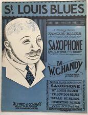 1928 BLACK COMPOSER SAXOPHONE sheet music ST. LOUIS BLUES arr. KLICKMANN w/parts