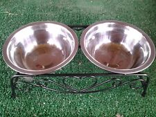 Puppy/Kitten two bowl stainless steel feeding station with black stand!