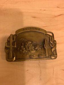 Vintage Arizona Belt Buckle Solid Brass 1978 Bergamont Brass Works USA