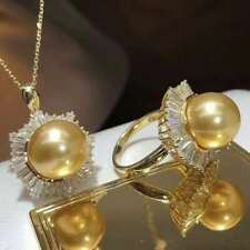Natural Freshwater Golden Pearl Around the set auger Pendant Ring Set Chain Gift