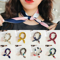 Women Elegant Square Silk Feel Satin Scarf Small-Vintage Head Neck Hair Tie Band