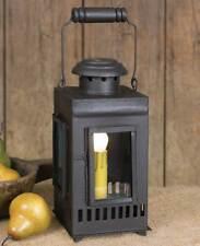 "SANTA FE COACH LANTERN LIGHT RUSTIC BROWN METAL  WITH GLASS 4 1/2"" X 10"" TALL"