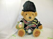 "Harrods Knightsbridge London England Stuffed Bear Kilt Bagpipes w/ Tag 12"" Euc"