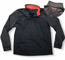 Under Armour Cold Gear Mens Sz L Blk Gray Long Sleeve Pullover Shirt Loose 1/4