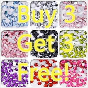 Buy 3 Get 3 Free! 1000 Rhinestones resin Gems Crystal Pearl Nail Body UK Post