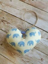 HANDMADE SHABBY CHIC FABRIC HANGING HEART DECORATION BLUE ELEPHANT BABY GIFT