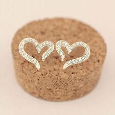 Fashion Charm Women Silver Plated Crystal Hollow Heart Ear Stud Earrings Jewelry