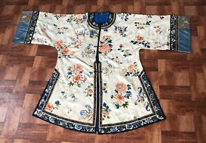 Antique Chinese Silk Robe Qing D. Embroidery Damask Peking Knot Fantastic Detail