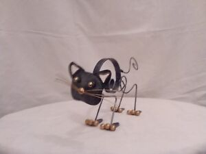 Pouncing cat, Tin ornament, spring tail and head, cat ornament, statue, handmade