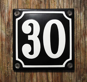 HOUSE NUMBER 30 CLASSIC ENAMEL SIGN. WHITE No.30 ON A BLACK BACKGROUND. 10x10cm.