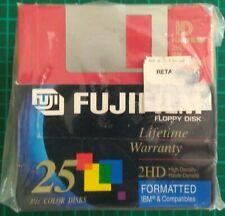 "NEW & SEALED FUJIFILM 2HD 3.5"" IBM FORMATTED FLOPPY DISK MULTI COLOR (25 PACK)"