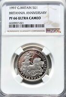 1997 Britannia Silver Proof £1 One Pound NGC PF66 1/2oz